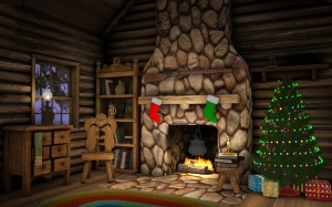 Interior of a cabin decorated for Christmas with a Christmas tree, presents and stockings hanging over the fireplace